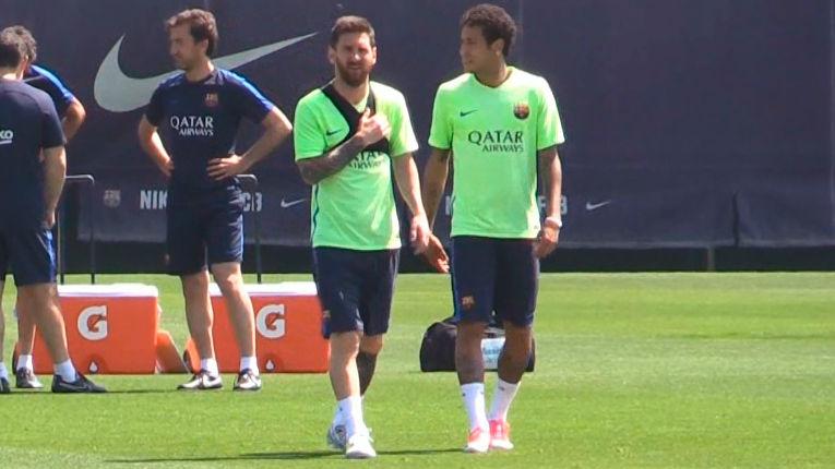 Así entrenaron Messi y Neymar sin Suárez