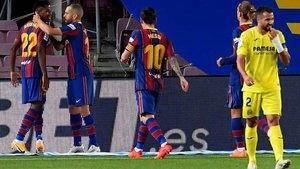 El Barça celebró tres goles en un primer tiempo completísimo de los azulgranas