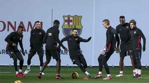 Dembélé ha participado en el entrenamiento