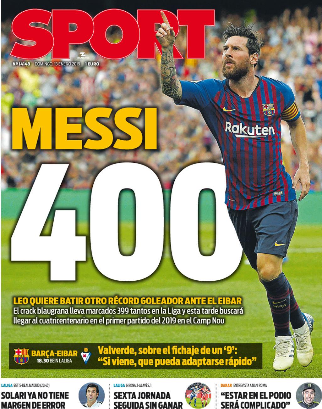 Esta es la portada de Sport del domingo 13 de enero de 2019