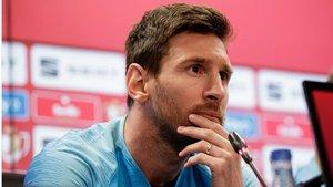 Messi, en la rueda de prensa de este viernes