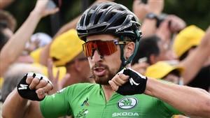 Peter Sagan tras su victoria en Quimper