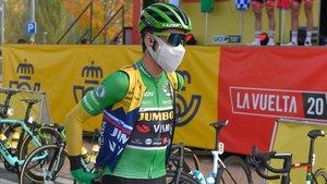 Primoz Roglic, antes de iniciarse la etapa de hoy