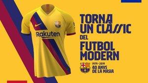 La segunda camiseta del FC Barcelona para la temporada 2019/20