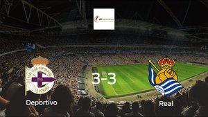 El Deportivo Femenino y la Real Sociedad Femenina consiguen un punto después de empatar a tres