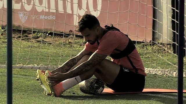 Doble sesión de entrenamiento del Sevilla