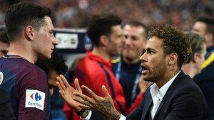 Draxler y Neymar durante la final de la Copa de Francia 2019