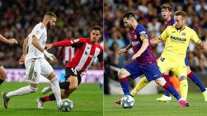 Karim Benzema en el Real Madrid-Athletic Club (izquierda) y Leo Messi en el Barça-Villarreal de la primera vuelta de La Liga 2019/20
