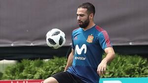 El lateral derecho de la selección española Dani Carvajal durante un entrenamiento