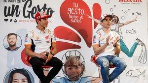 Márquez, junto a Lorenzo en el acto de Honda
