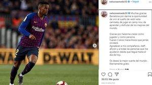 El mensaje de despedida de Semedo en las redes sociales