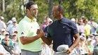 Rahm y Woods coincidieron en el último Masters