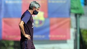 Setién, en el entrenamiento previo al Villarreal - Barça
