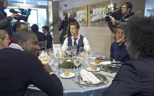 Cristiano Ronaldo este miércoles en la comida de Navidad del Real Madrid