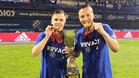 Dani Olmo, a la izquierda, ha ganado esta temporada la Liga y la Copa con el Dinamo de Zagreb