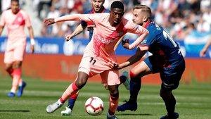 Dembélé jugó 67 minutos en El Alcoraz. Dejó atrás la lesión que sufrió ante el Olympique de Lyon el 13 de marzo de 2019