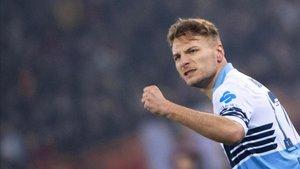 Immobile anotó el 2-0 contra la Roma desde el punto de penalti