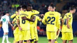 Los groguets celebrando un gol ante el Rapid de Viena la última jornada