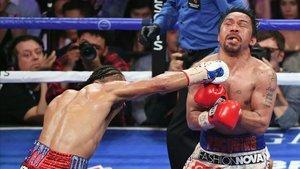 Manny Pacquiao, en el combate ante Thurman en Las Vegas