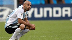 Mascherano, en un partido con la selección argentina