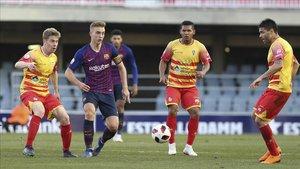 Oriol Busquets, en el partido disputado por el Barça B ante el Alcoyano