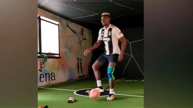 Pogba entrena con la camiseta de la Juventus