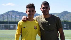 Raúl (Barça) y Fernando (Europa) tras un partido del conjunto azulgrana