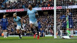 Sterling, tras anotar uno de los seis goles del Manchester City al Chelsea.