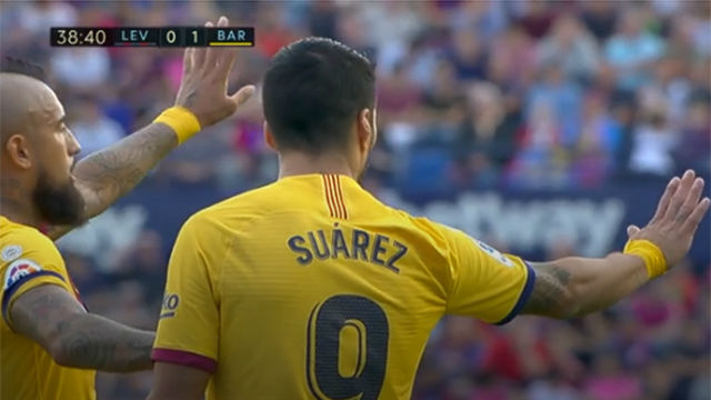 Suárez no pudo terminar el partido ante el Levante