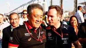 Tanabe y Horner, celebrando el podio de Australia