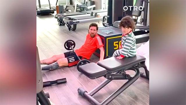Así entrena Messi en casa con una compañía y ayuda muy especial