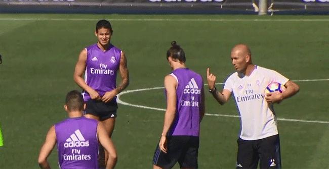 James durante el último entrenamiento del Real Madrid