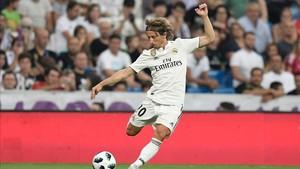 Luka Modric, durante el trofeo Santiago Bernabéu