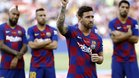 Messi, en un momento de su discurso previo al Gamper