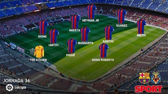 El once del FC Barcelona frente al Villarreal