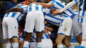 La Real celebra el único gol del encuentro