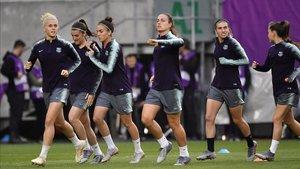 Último entrenamiento del Barça femenino de la temporada 18/19 en Budapest