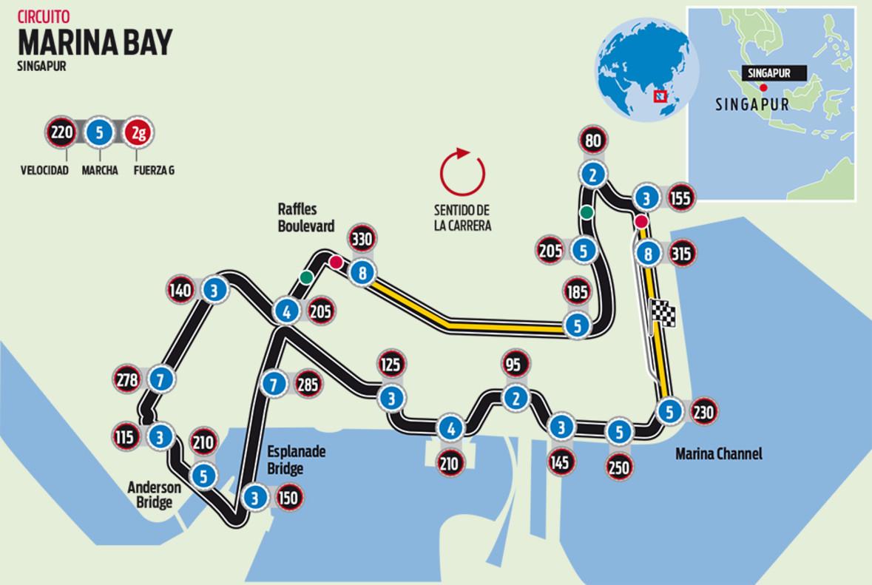 Circuito Singapur : El circuito de marina bay del gp de singapur de f1 marina bay f1