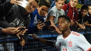 El Barça felicitó a Ansu Fati por su debut con la Sub-21