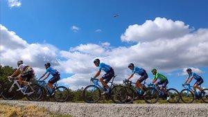 El equipo Movistar duante la etapa de la Vuelta España