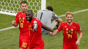 Hazard celebra uno de los goles de Bélgica ante Panamá