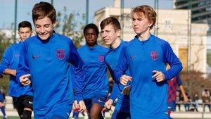 El Infantil A del Barça, en un calentamiento de esta temporada
