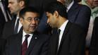 Josep Maria Bartomeu y Nasser Al-Khelaffi en el palco del Camp Nou durante un Barça-PSG