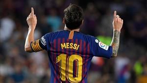 Leo Messi celebrando el gol 6.000 del Futbol Club Barcelona en LaLiga