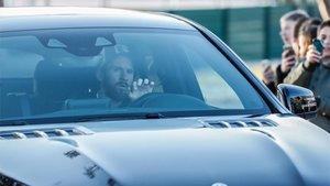 Leo Messi, entrando en la Ciudad Deportiva Joan Gamper