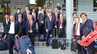 Los jugadores de la selección a su llegada a Francia