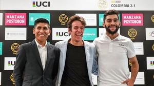Nairo Quintana, junto a Rigoberto Urán y Fernando Gaviria en la presentación de Colombia Oro y Paz