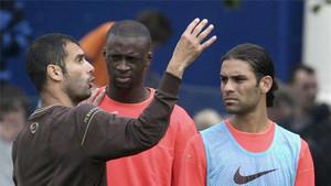 Rafa Márquez, junto a Guardiola y Touré Yaya en su etapa como culé