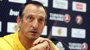 Salva Maldonado durante la rueda de prensa previa al duelo de Euroliga