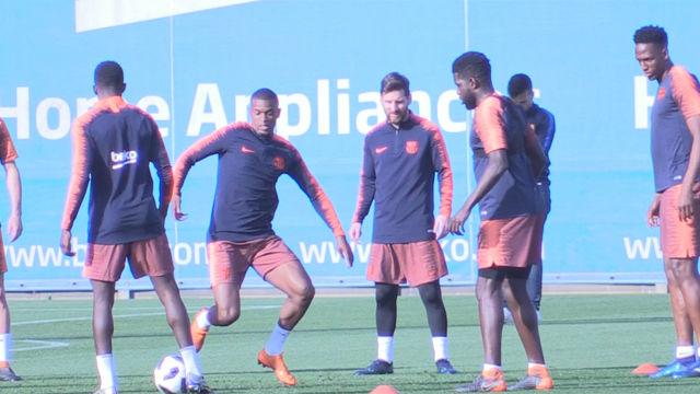 El FC Barcelona al completo preparó la última sesión antes de la final de Copa